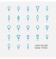 LED Light bulb base type icon set vector image