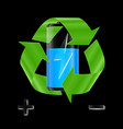 battery with recycle sign vector image