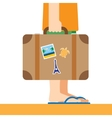 Briefcase with stickers in hand vector image