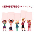 children kids holding empty boards for mathematic vector image