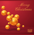 christmas made of cutout gold foil on red vector image