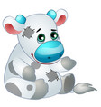 cute cow - old childrens stuffed toy with patch vector image
