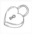 Heart-shaped lock vector image