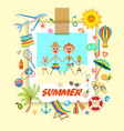 pictures and shells on beautiful seaside vector image