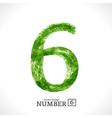 Grunge Number 6 vector image