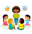story time - multicultural group vector image