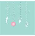 Hanging rain button drops Dash line Love card Flat vector image