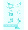 Baby shower boy icons set design vector image