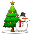 A simple sketch of a snowman beside the Christmas vector image