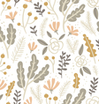 Flowers leaves and berries pastel seamless pattern vector image