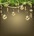 Shimmering Background with Fir Branches and Golden vector image