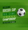 soccer ball on football field poster sport design vector image