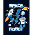 Space robot with rocket planet embroidery vector image