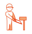 worker man silhouette vector image