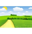 Green Landscape with trees clouds vector image