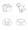 house booth bowl fooddog set collection icons vector image
