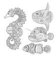 set with zentangle fish vector image