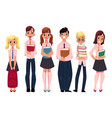 students pupils school kids standing with books vector image
