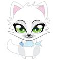 Cute little white kitten vector image