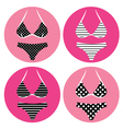 retro bikini icons isolated on white vector image vector image