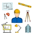 Architect or engineer with construction symbols vector image vector image