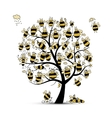 Art tree with family bees sketch for your design vector image