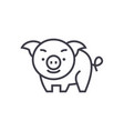 cute pig line icon sign on vector image
