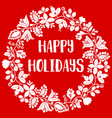 happy holidays card with white wreath on red vector image