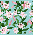pink lilies with leaves floral pattern vector image