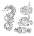 set with zentangle fish vector image