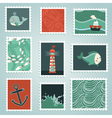 set with stamps and sea design elements vector image vector image