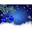 Three blue shiny balls on fir branch Christmas vector image