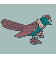 Blue cartoon bird with hat vector image vector image