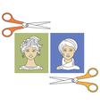 hairstyles and scissors 3 vector image