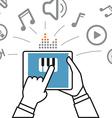Making music via modern digital gadget Simple line vector image vector image