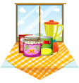 A table near the window with foods inside the vector image