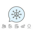 business networking line icon teamwork sign vector image