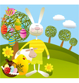 Cartoon Easter background vector image