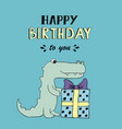 happy birthday lettering party with baby croc vector image