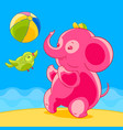 pink elephant and bird in cartoon style playing vector image