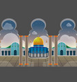 sunset view muslim building background vector image