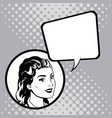 woman speak comic pop art vector image