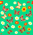 green seamless background butterfly and flower vector image