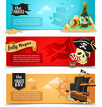Pirates flat banners set vector image