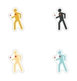 Set of paper stickers on white background man in vector image