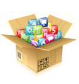 Cardboard Box with Set of Icons vector image vector image