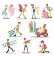 construction builders or workers men vector image