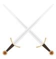 Crossed templar swords vector image