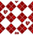 Diamond Chessboard Red Heart Valentine vector image