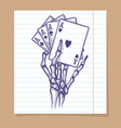 four aces in skeleton hand sketch vector image